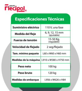 Especificaciones maquina semiautomatica
